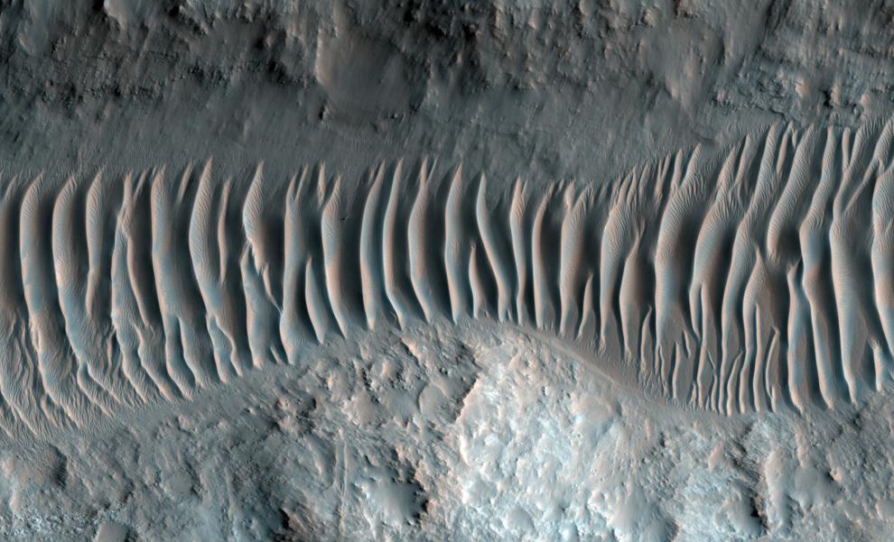 25. Дюны обрамляют дно долины Ладон – сбросной канал, образующий сегмент крупной системы, направляющейся в бассейн Argyre на юге, и в итоге соединяющийся с крупным каналом долины Арес. (NASA/JPL/University of Arizona)