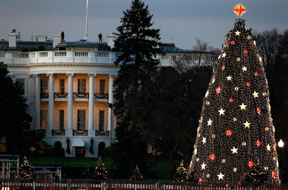 1. Огни горят на главной елке США  перед Белым домом 1 декабря в Вашингтоне. Президент Барак Обама, Первая леди страны Мишель Обама и их дочери Малия и Саша вместе нажали кнопку, чтобы зажечь огни на колорадской голубой ели. (Mark Wilson / Getty Images)