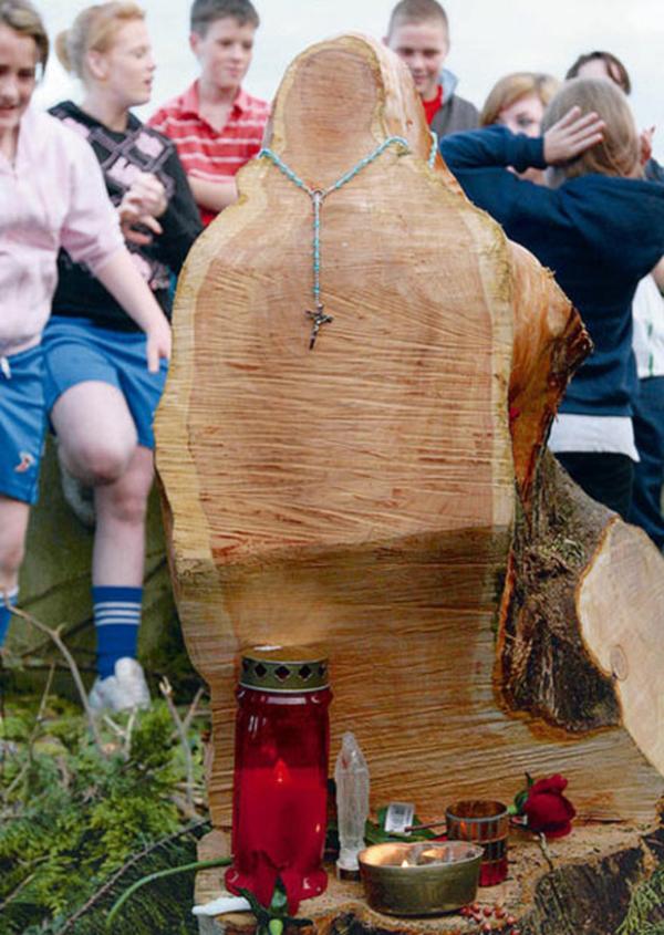 10) Изображение Девы Марии появилось в остатках срубленного дерева на ирландском кладбище в деревне Рэскил (Rathkeale). (PA)