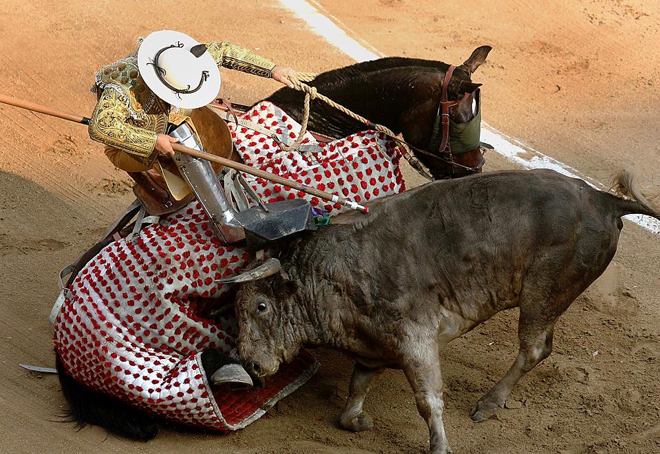 8. Бык столкнулся с лошадью, на которой сидел пикадор с копьем во время корриды в Плаза де Торос Канавераледжо в Кали, Колумбия. (Jaime Saldarriaga/Reuters)