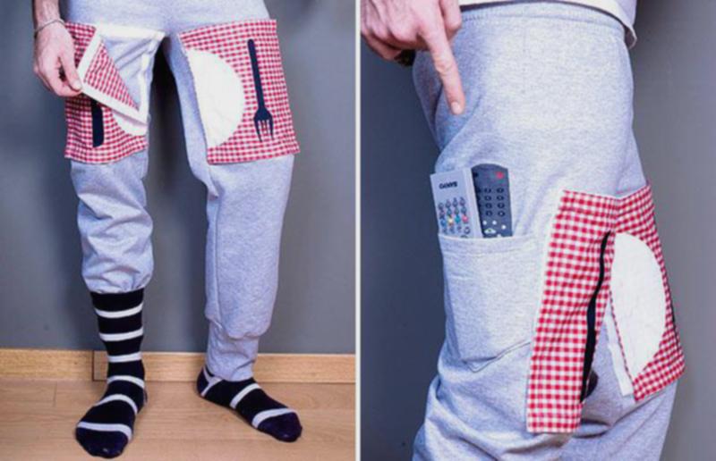 16) Воскресеные брюки предназначеные для диванного картофеля  со съемной скатертью и с карманами для пультов дистанционного управления. (WENN)