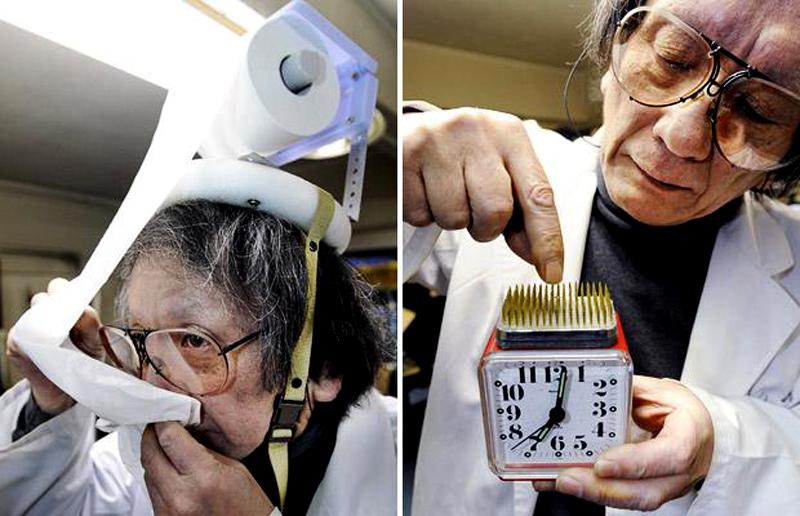 21) Шляпа, которая распределяет непрерывный поток туалетной бумаги и будильник с повторной кнопкой по центру для традающих недугом сенной лихорадки. (AFP/GETTY)