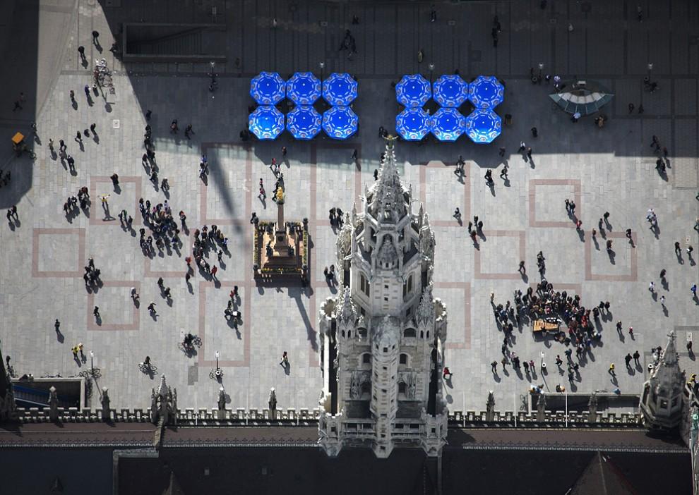 22. Вид с воздуха на липы в прямоугольной площадке фиерекшанце в Перлахе, Мюнхен.