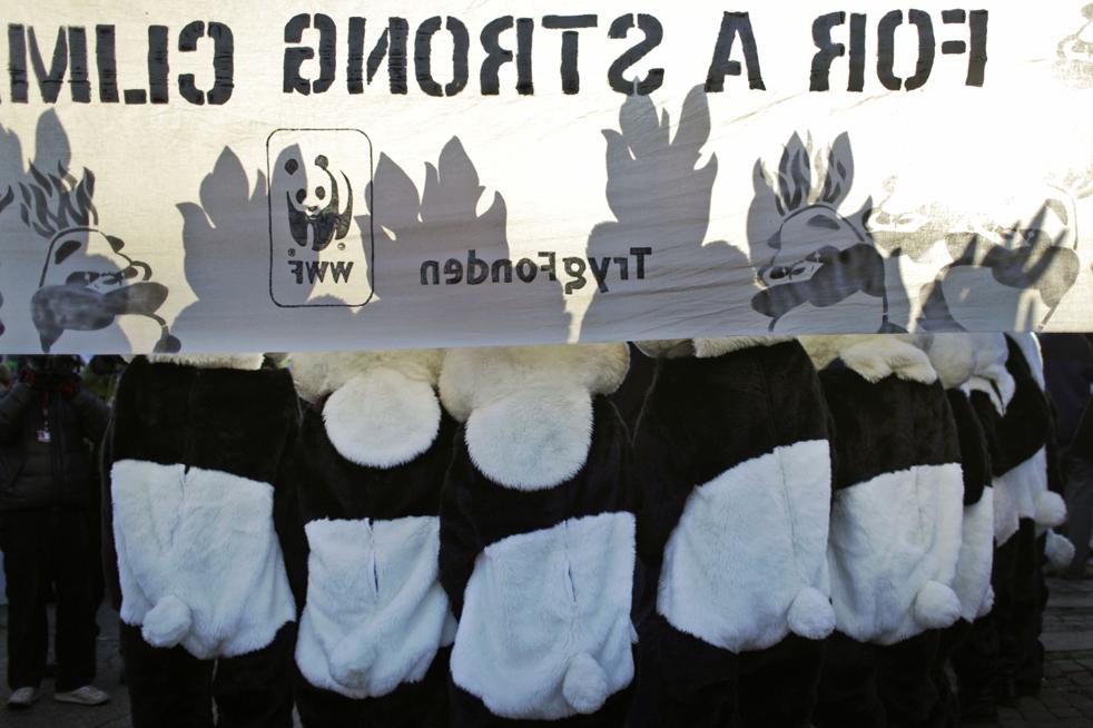 13. Демонстранты в костюмах панд с огнями на головах – часть акции от Всемирного фонда природы – присоединились к всеобщим протестам в центре Копенгагена в субботу 12 декабря. (AP/Anja Niedringhaus)