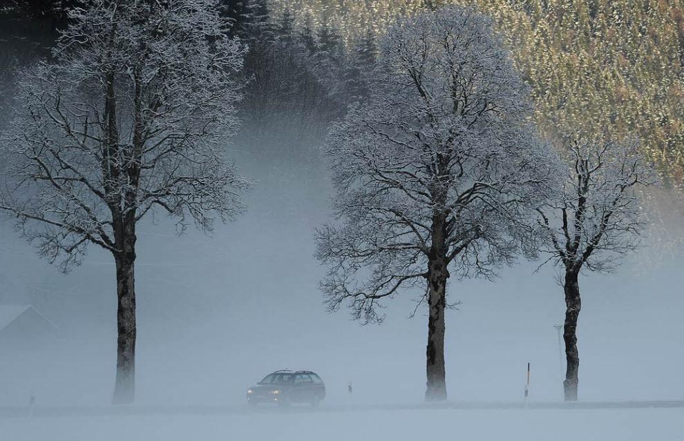 3. Автомобиль едет в тумане мимо покрытых снегом деревьев 2 декабря в южной Германии. (Oliver Lang, AFP / Getty Images)
