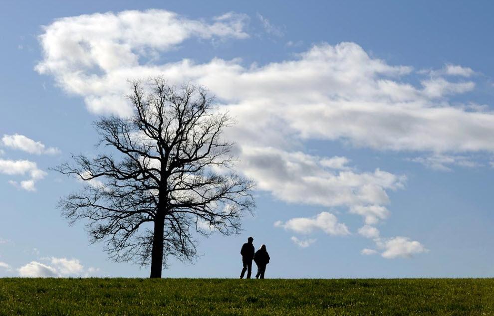 16. Двое идут по лугу рядом с деревушкой Мюнсинг в южной Германии теплым осенним деньком 23 ноября. (Christof Stache, AP)