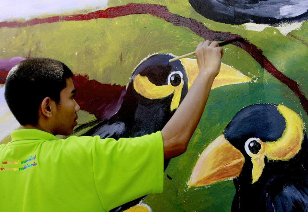 22. Мальчик рисует на стене в зоопарке Дузит во время конкурса рисования в Бангкоке 20 ноября. (Apichart Weerawong, AP)
