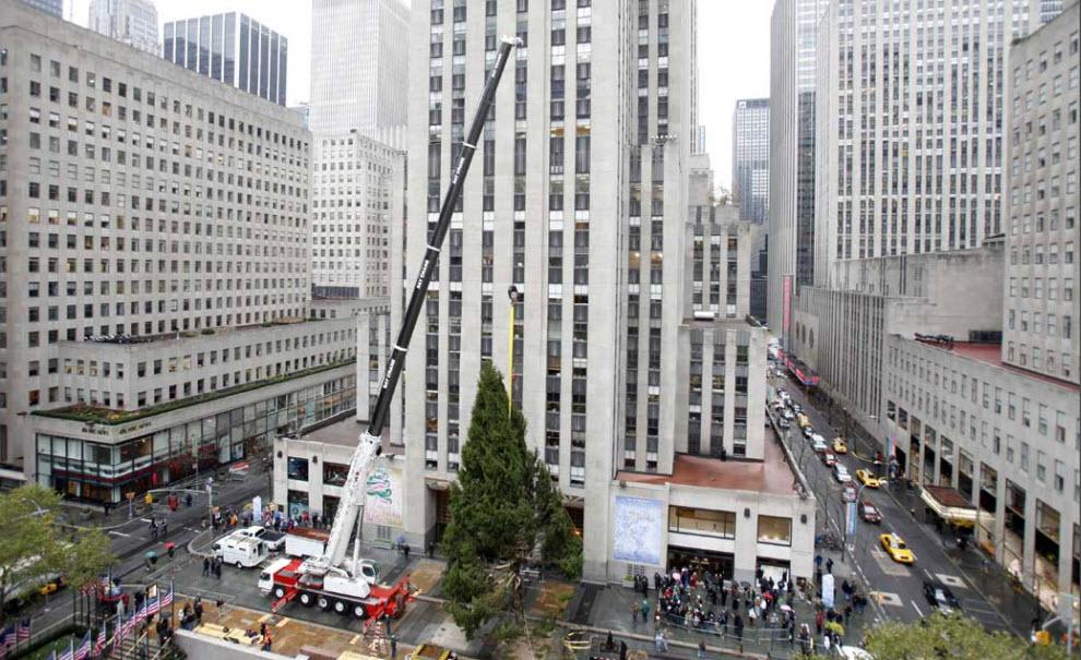 34. Рождественскую елку устанавливают у Рокфеллер-центра в Нью-Йорке 12 ноября. 10-тонное 23-метровое дерево традиционно зажгли 2 декабря. (Seth Wenig, AP)