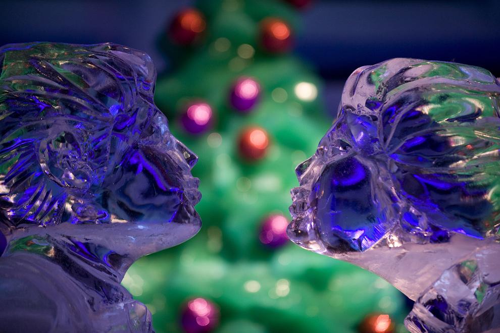 13. Две ледяные скульптуры на выставке «ICE!» в Форт Вашингтон, штат Мэриленд, 18 декабря 2009 года. (JIM WATSON/AFP/Getty Images)