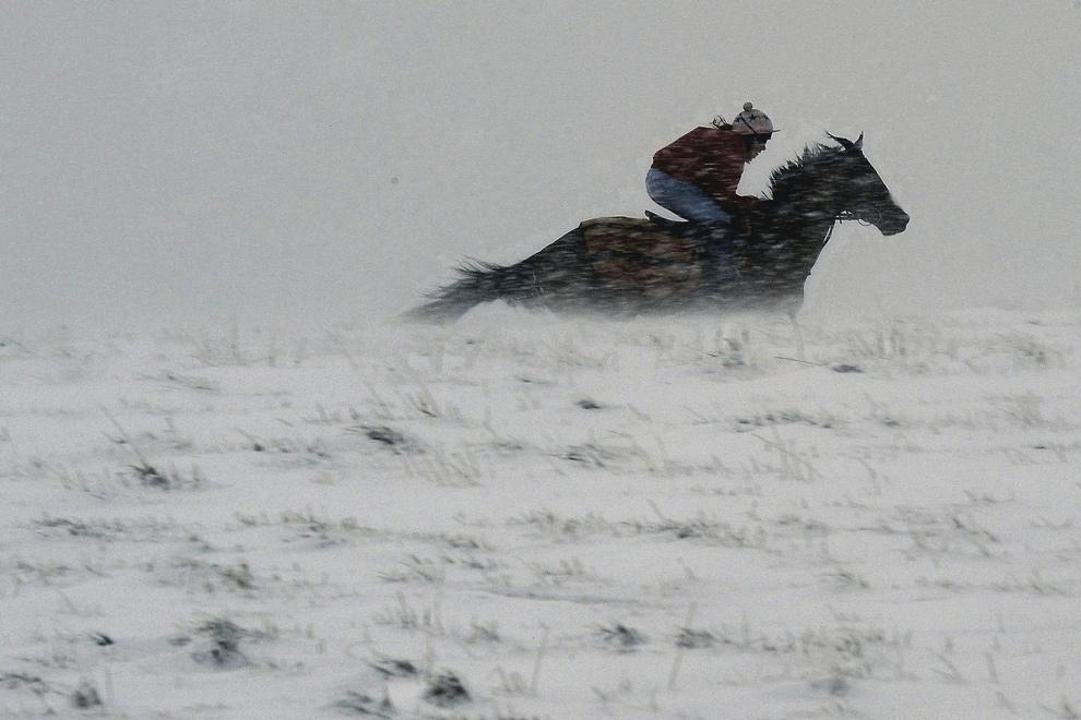 30. С лошадью, несущейся по Великобритании, Англия стала похожа на картинку с открытки, когда низкие горы Пеннины оказались полностью скрыты в снегу 21 декабря 2009 года. (AP Photo/John Giles/PA Wire)