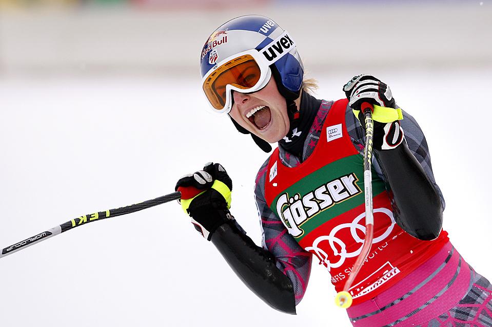 7. Американка Линдсей Вонн заняла первое место на Чемпионате мира по ходьбе на лыжах среди женщин в Хаус-им-Энншталь, Австрия. (Stanko Gruden/Agence Zoom/Getty Images)