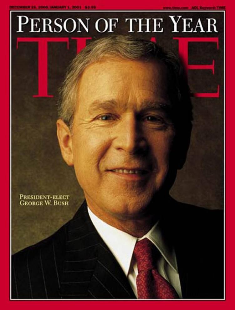 2. Президентские выборы, того года наделали много шума не только в Штатах, но и по всему миру– Джордж Буш стал 43-им президентом США, а также попал на обложку «TIME» как «Человек года».