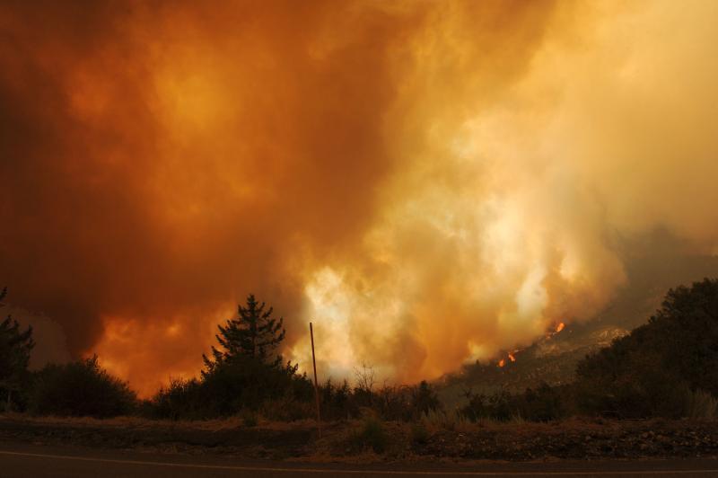 3) Лесной пожар в Лос-анджелесском национальном парке недалеко от горы Уилсон 31 августа 2009 года. (UPI/Jim Ruymen)