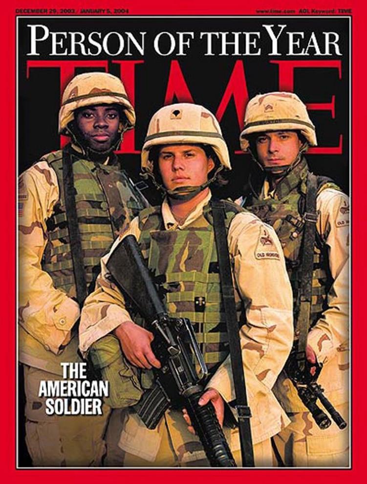 5. В 2003 году США вторглись в Ирак, и в декабре того же года был пойман Садам Хусейн. Эти события стали главной причиной того, что «TIME» поместили на обложку американских солдат в качестве «Человека года».