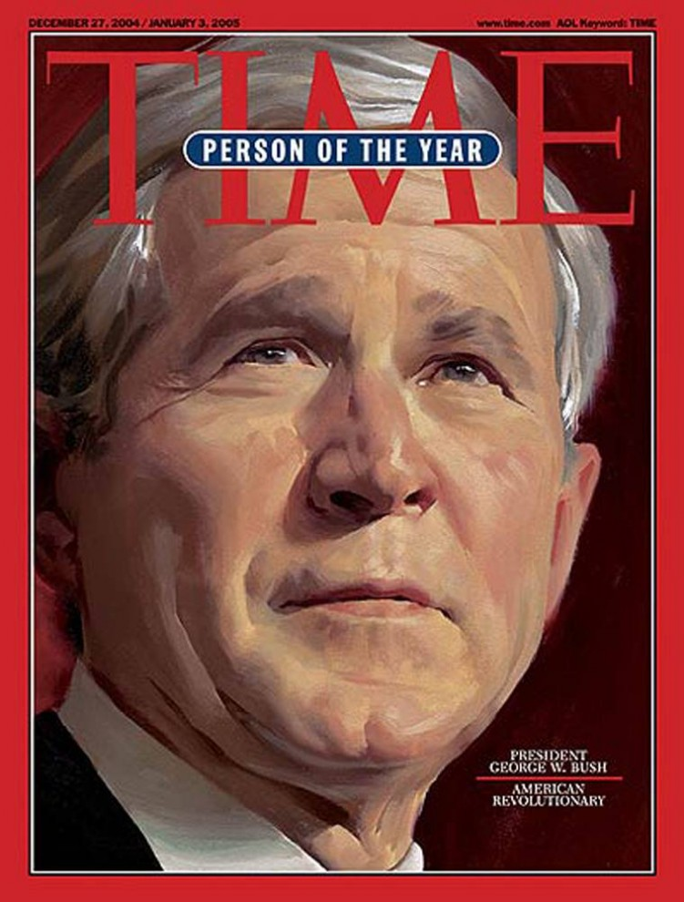 6. В 2004 году американские избиратели избрали Джорджа Буша на второй срок. «TIME» осветил эти события, во второй раз «избрав» Буша в качестве «Человека года».