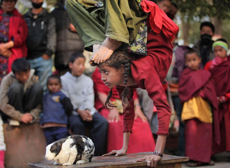 7. Юная уличная артистка, 9-летняя Мехди выступает со своим кроликом у буддистского храма Махабодхи, где дает лекции тибетский лидер Далай Лама в городе Бодх Гайя к югу от Патны, Индия. (AP Photo/Rajesh Kumar Singh)