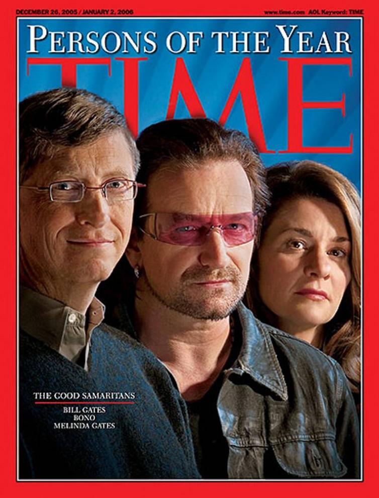 7. В 2005 году звание «Человек года» по версии журнала «TIME» получили добрые самаритяне Билл Гейтс, Боно и Мелинда Гейтс. Этой чести они удостоились за свои попытки «покончить с бедностью, болезнями и равнодушием».