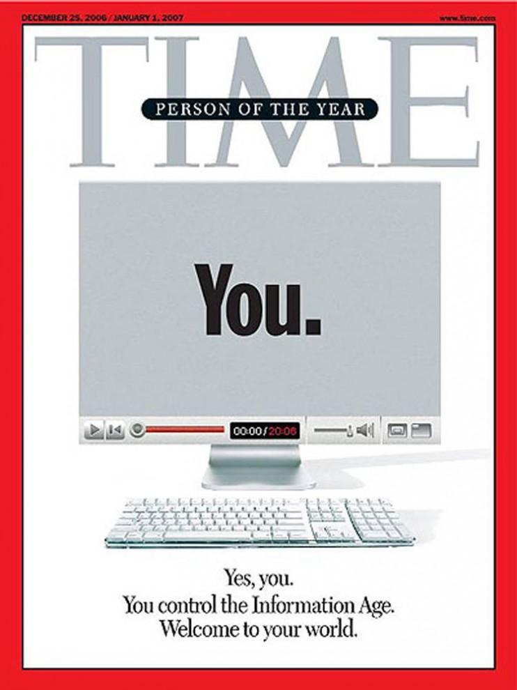 8. «Человеком года» 2006 стал один из самых противоречивых выборов «TIME» - «ТЫ». На обложке был изображен монитор компьютера с этой надписью. Журнал решил сделать акцент на важности интернета и его пользователей, как «граждан новой цифровой демократии».