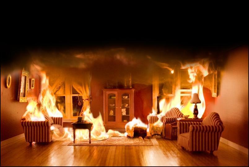 9) Комната в огне.