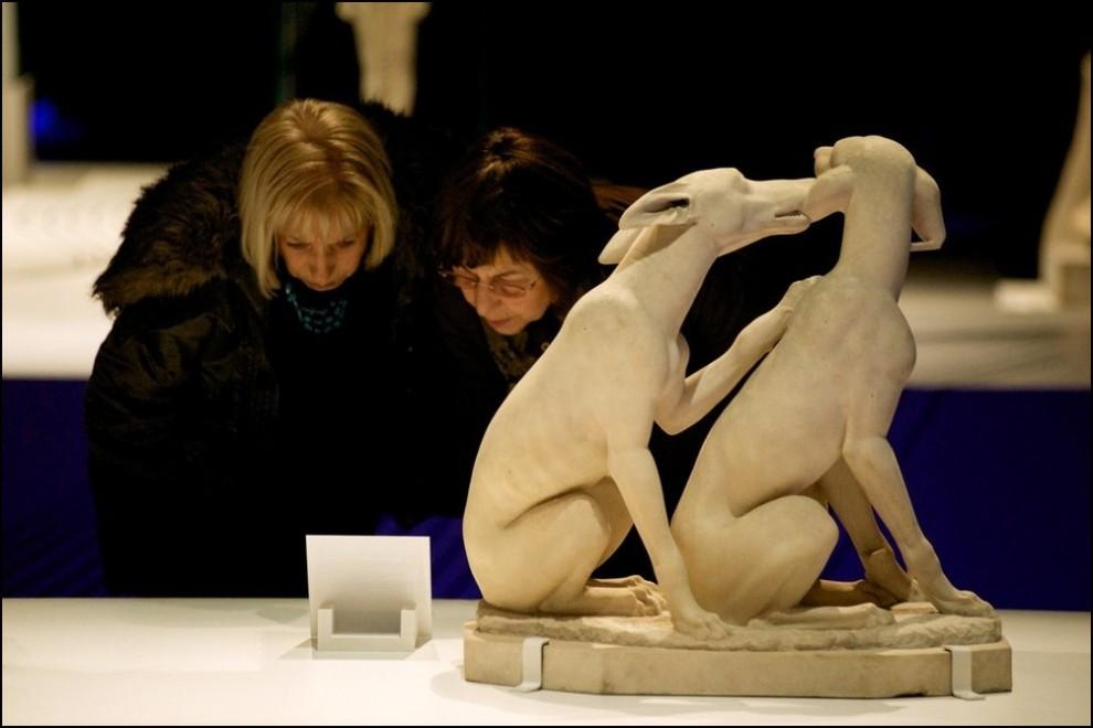 11) © Juan Naharro Gimenez/Getty Images // Статуя двух борзых собак, Лацио, Италия.