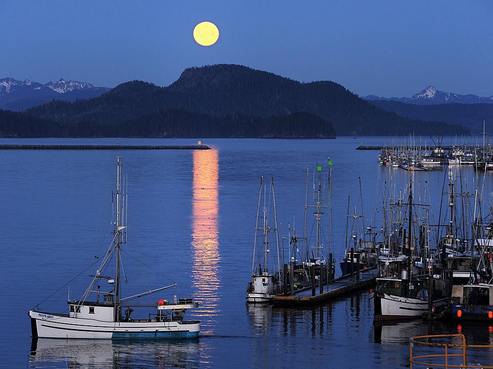 16) Луна освещает гавань в городе Ситка, штат Аляска, в канун Нового Года; когда произошло частичное лунное затмение. (James Poulson/Daily Sitka Sentinel via Associated Press)