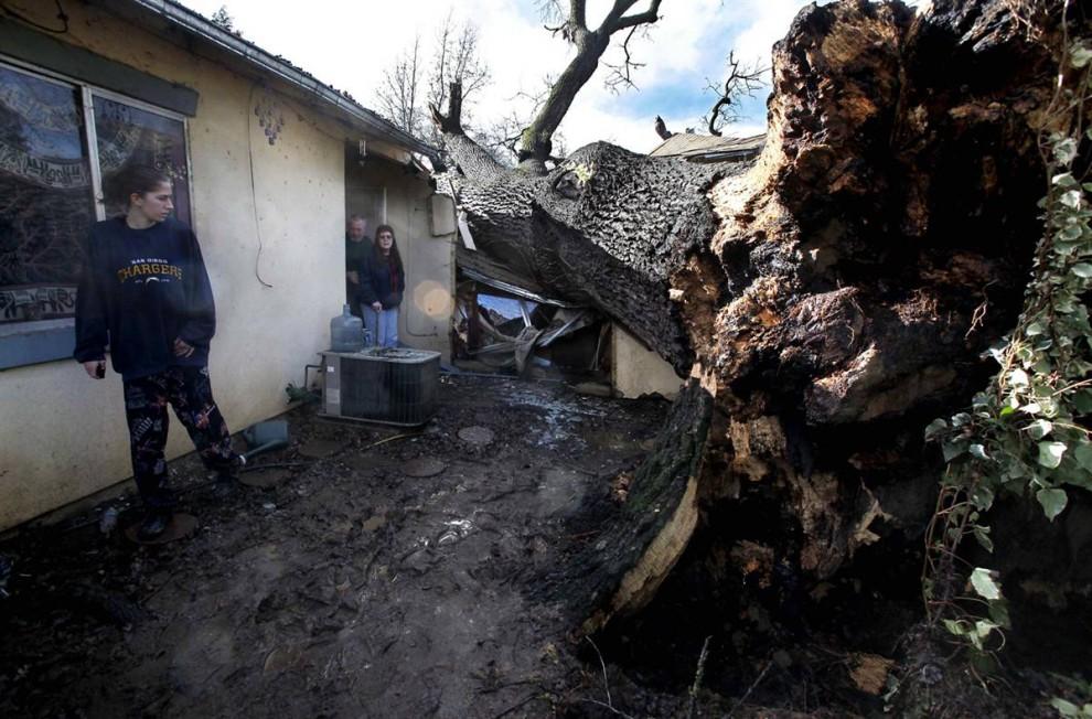 18. Меган Форни смотрит на огромное дерево, упавшее на ее дом, расколовшись напополам, в Фэйр Оукс. Она оказалась в ловушке в комнате, на которую упало дерево, пока пожарные не освободили ее. Форни и другие члены семьи не пострадали. (Steve Yeater / AP)