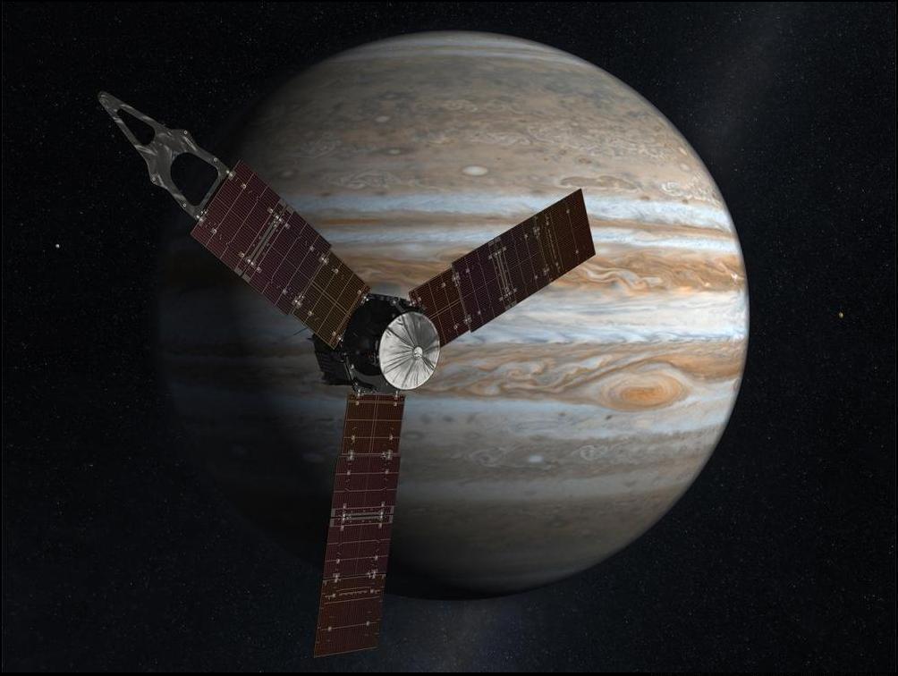 21) Художественный концепт аппарата, который могут отправить на исследование Юпитера.