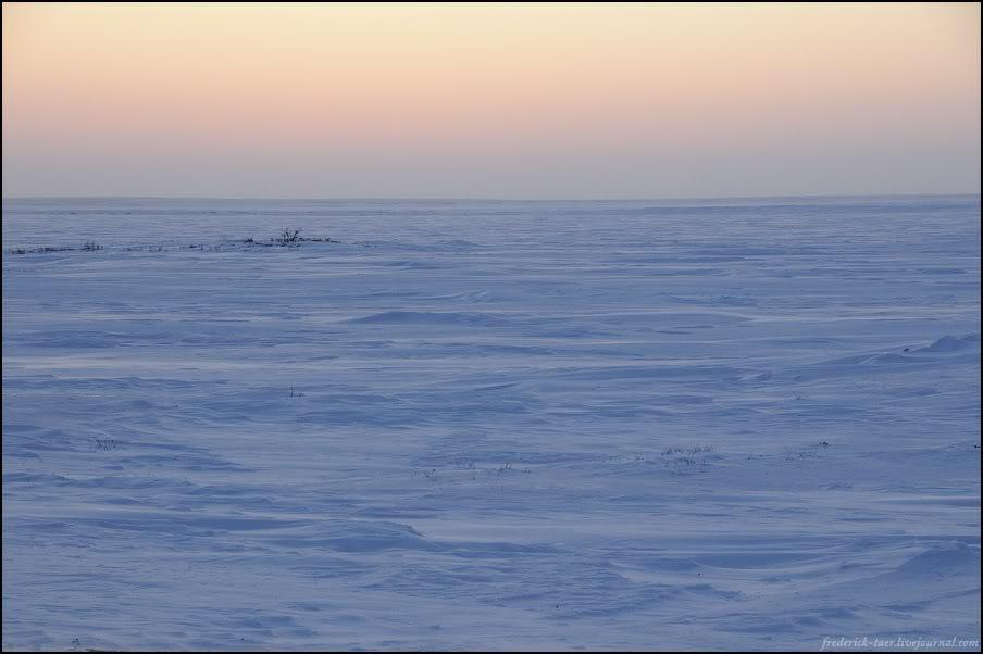 23) Зимник дальше пошёл не из голубого льда, а из коричневого. И светоотражающая лента на вешках пропала.
