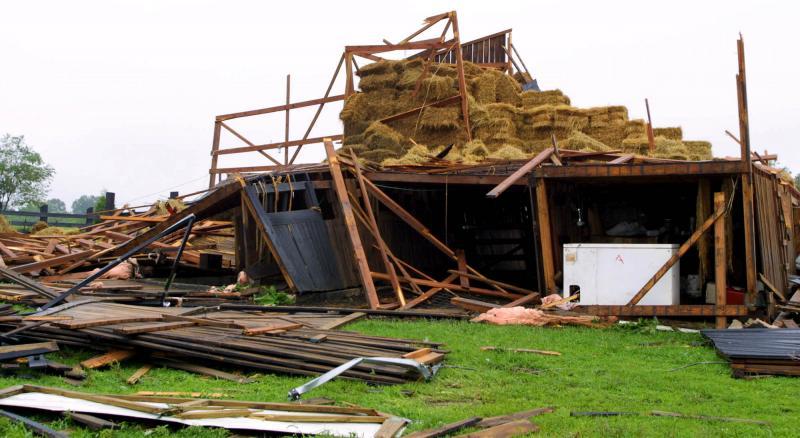 29) 4 июля 2001 года в Сайенс Хилл, штат Кентукки, торнадо вырвал с корнем деревья и сравнял с землей здания. (cc/bs/Billy Suratt/UPI)
