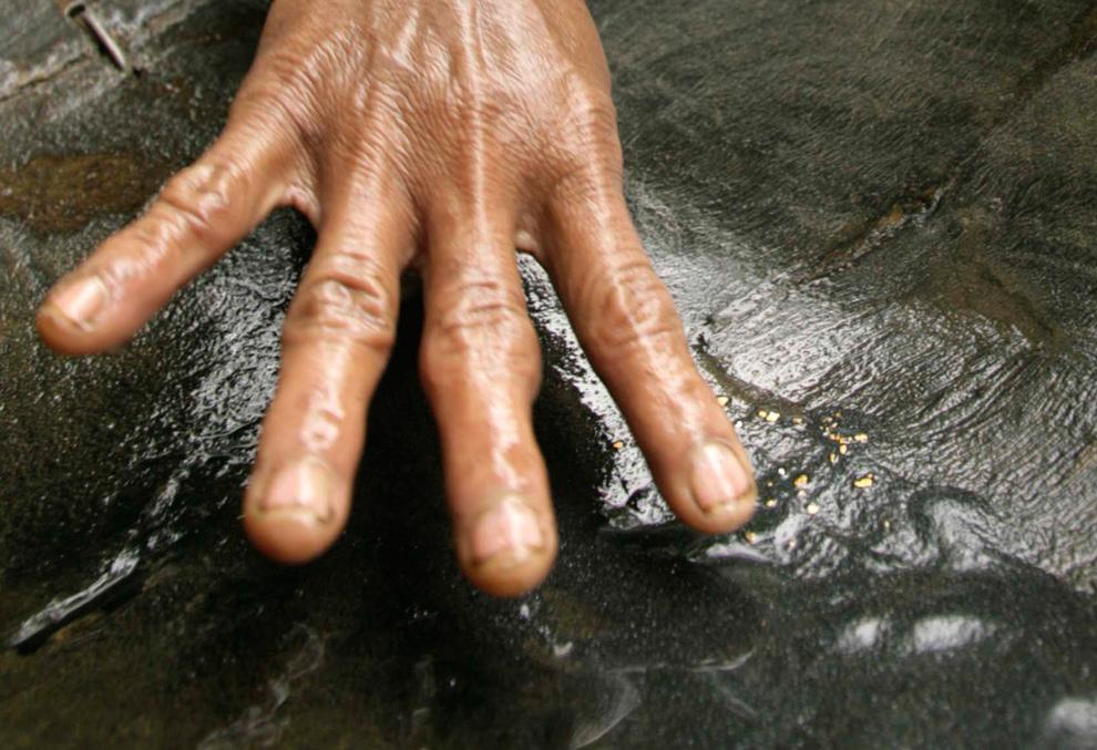 25. Житель деревни промывает золотую пыль из песка со дна реки в округе Пиди, Индонезийская провинция Ачех, 2 ноября 2009 года. (REUTERS/Tarmizy Harva)
