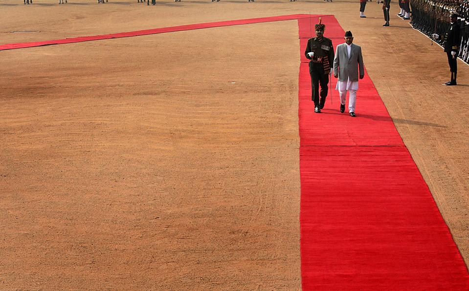 3. Непальский президент Рам Баран Ядав прибыл в президентский дворец в Нью-Дели во время своего официального визита. (Manish Swarup/Associated Press)