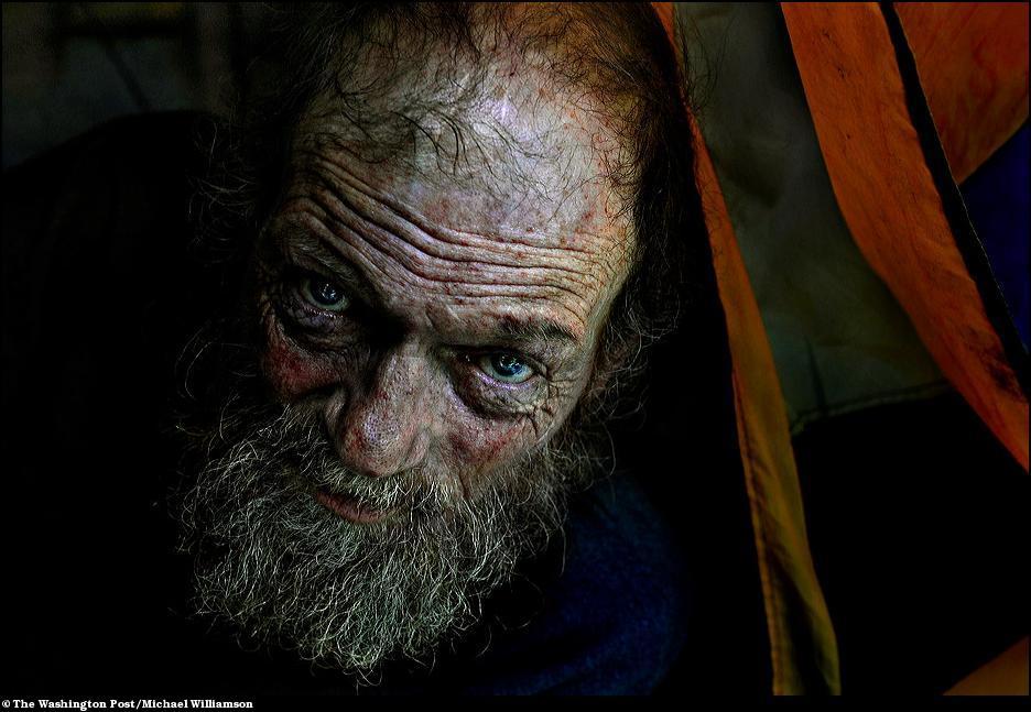 3) Бездомный, который живет в палатке в лесах округа Принц Вильям.