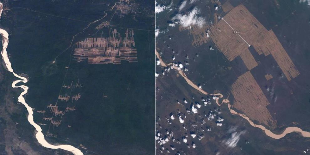 4. Астронавты используют переносные камеры уже 45 лет, что позволяет создать целый архив изменения ландшафтов земли на различных участках со временем. На таких снимках можно увидеть весь прогресс вырубки тропических лесов в восточной Боливии для сельскохозяйственных полей. Фото слева было сделано из космического шаттла в ноябре 1995 года. Фото справа – более детальный вид на тот же регион в ноябре 2008 года. (Image Science & Analysis Laboratory, NASA Johnson Space Center)