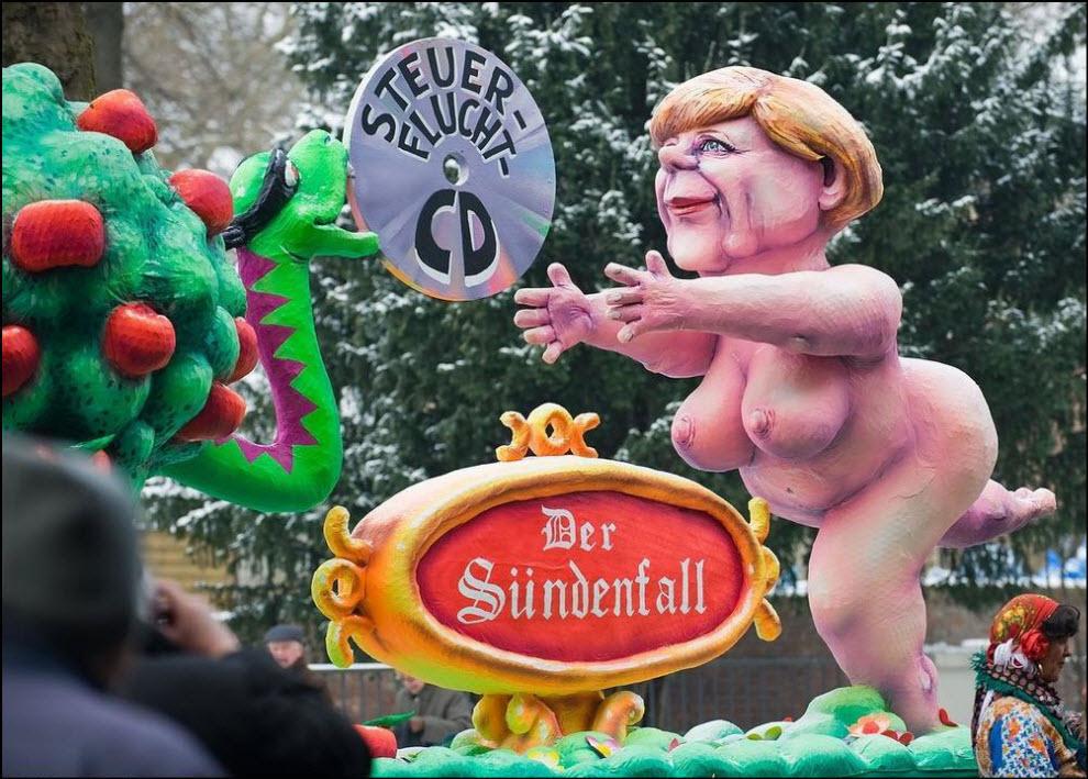 14) Карнавал в Дюссельдорфе, скульптура канцлера Меркель.