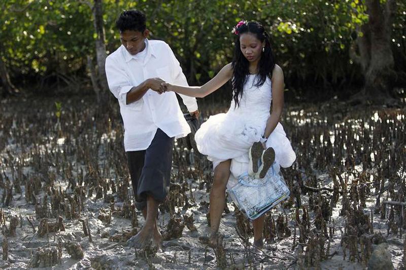 Молодожены возвращаются из рощи, где они посадили мангровое дерево.