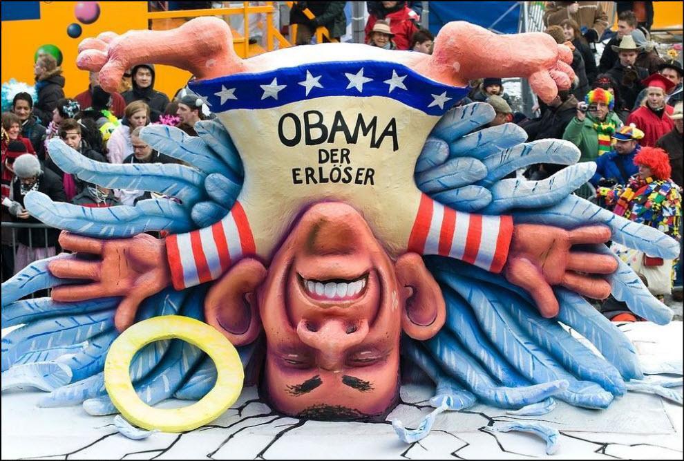 16) Карнавал в Дюссельдорфе, скульптура Барака Обамы.