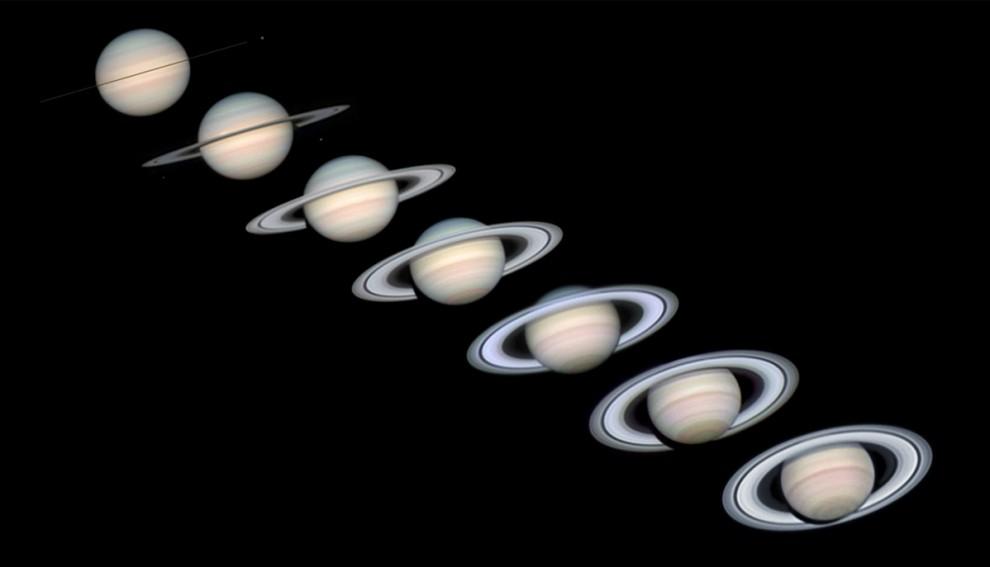 8) Чем интересны кольца Сатурна? При длительном наблюдении за планетой астрономы заметили, что кольца постепенно исчезают. На этом изображении, которое представляет собой компьютерное моделирование положения планеты за последние шесть лет видно, как широко повёрнутые кольца Сатурна постепенно суживались в тонкие полосы. Этому существует следующее объяснение: при вращении Сатурна вокруг Солнца его кольца один раз за 14-15 лет поворачиваются ребром к Земле и перестают быть заметны при наблюдении в небольшой телескоп.В последний раз кольца исчезли 4 сентября 2009 года.