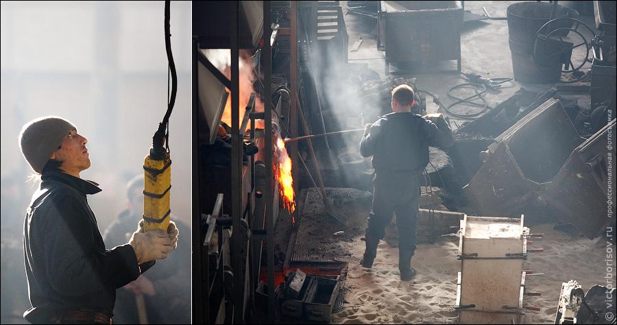 13) Все заготовки перемещаются в цеху с помощью электрических лебедок. Уже начали растопку печи.