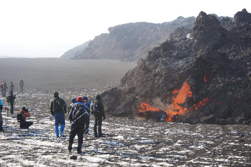 La erupcion del volcan en la Islandia