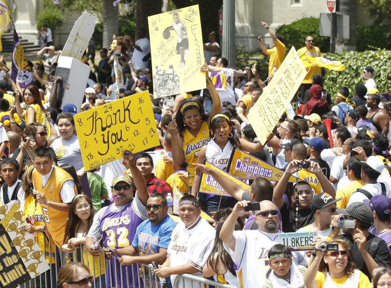 Чемпионский парад «Lakers» в Лос-Анджелесе