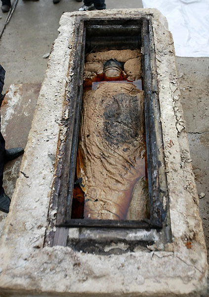 mummy05 В Китае строители нашли мумию