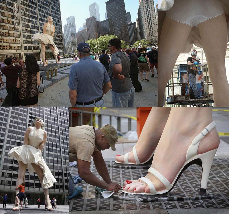 BIGPIC42 В Чикаго появился огромный памятник Мэрилин Монро