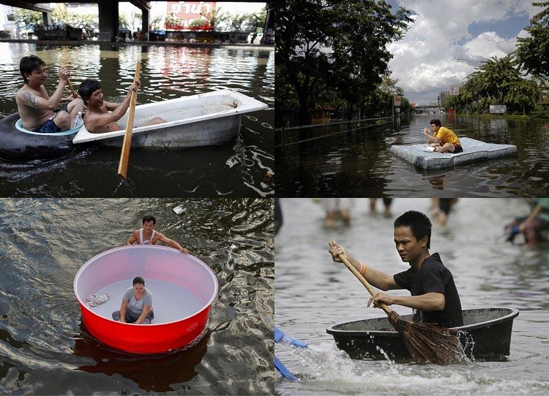 Как находчивые тайцы справляются с последствиями наводнения