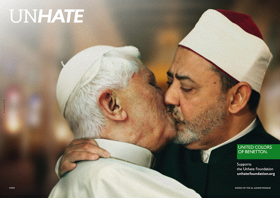 bouche visage Benetton Unhate POPE AL TAYEB DPS Социальная реклама United Colors of Benetton, шокирующая мир