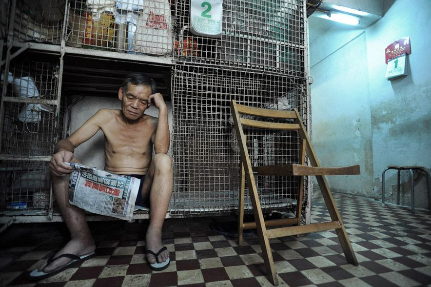 1050 Жизнь в собачьих клетках в Гонконге