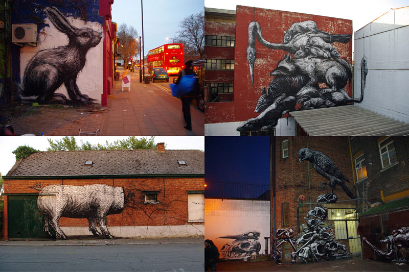 «Животный» стрит-арт от бельгийского граффитчика ROA