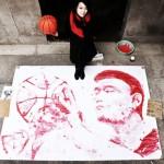 Картина, нарисованная баскетбольным мячом