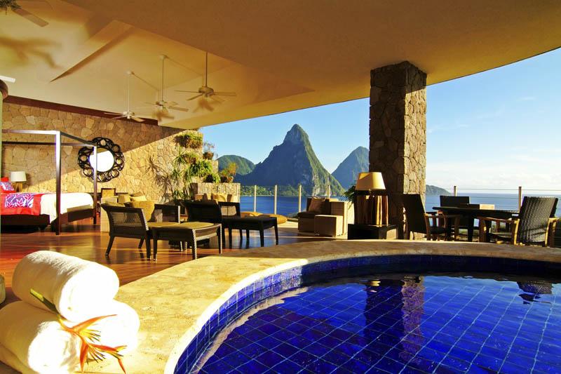 11163 Курорт Джейд Маунтин в Сент Люсии: инфинити бассейн в каждом номере