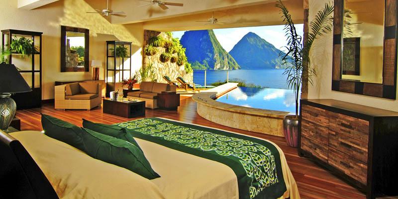 1600 Курорт Джейд Маунтин в Сент Люсии: инфинити бассейн в каждом номере