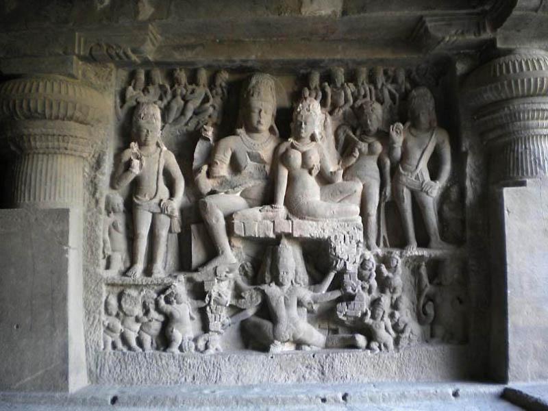 1813 Эллора пещерные храмы Индии